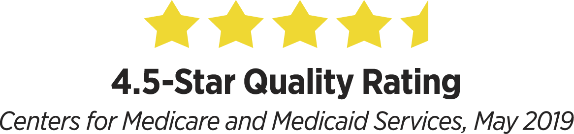 Covenant Care 4.5 star quality rating from Centers for Medicare and Medicaid services, May 2019