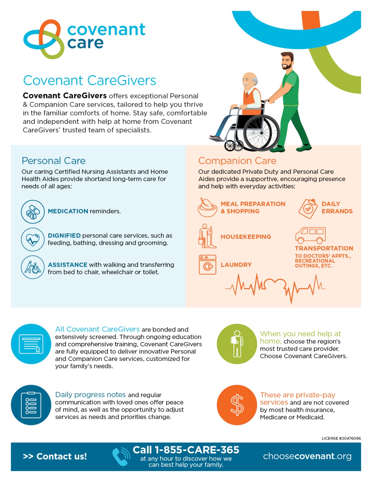 Covenant Care Caregivers one sheet infographic of services
