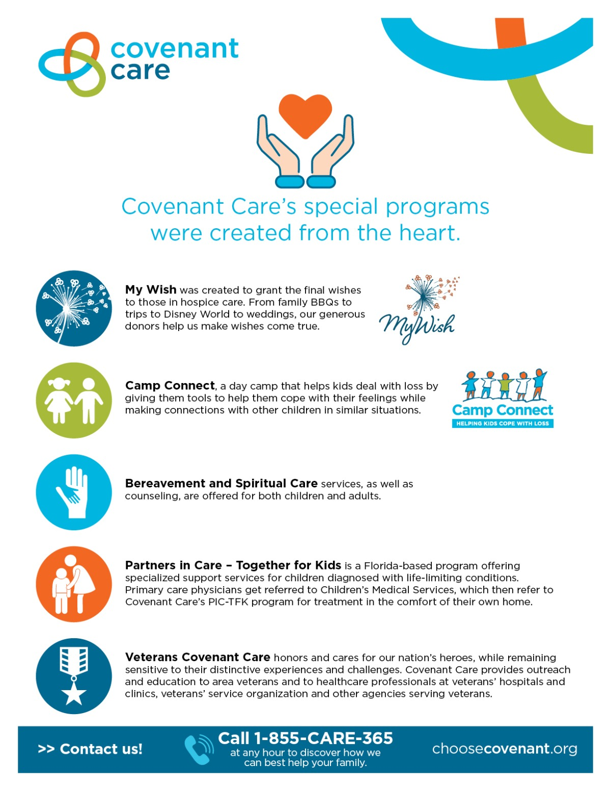 Covenant Care's We Do More Special Programs Inforgraphic